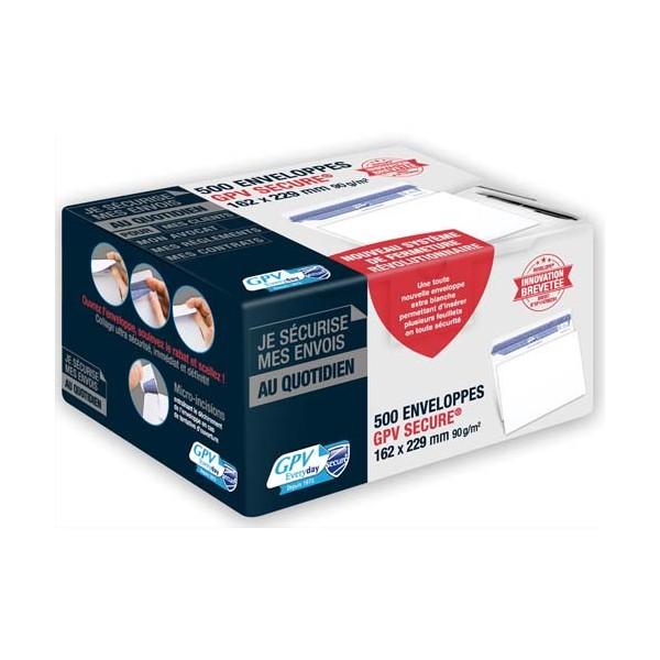 GPV Boîte de 500 enveloppes format C5 162 x 229 mm 90g SECURE fermeture auto-adhésive sans bande protectrice