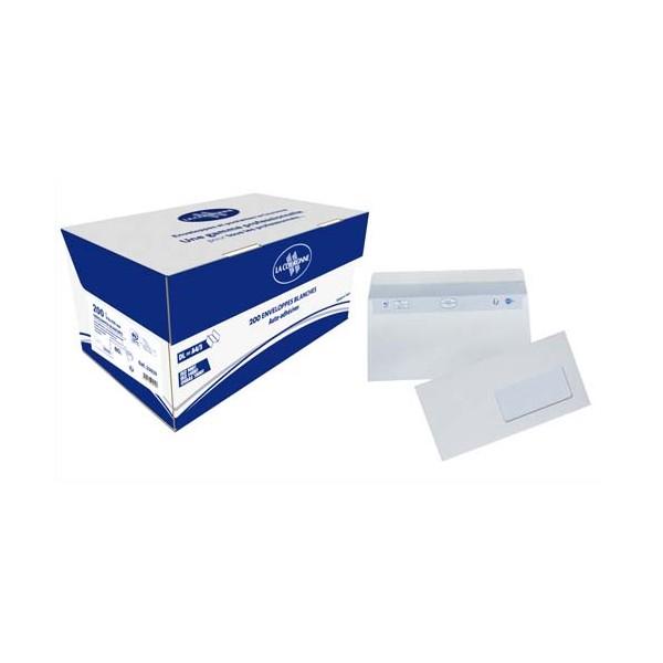 LA COURONNE Boîte de 200 enveloppes auto-adhésives DL 110 x 220 mm fenêtre 45 x 100 mm