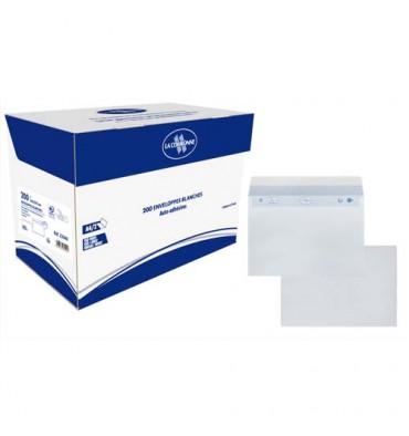 LA COURONNE Boîte de 200 enveloppes auto-adhésives C5 162 x 229 mm blanc 80g