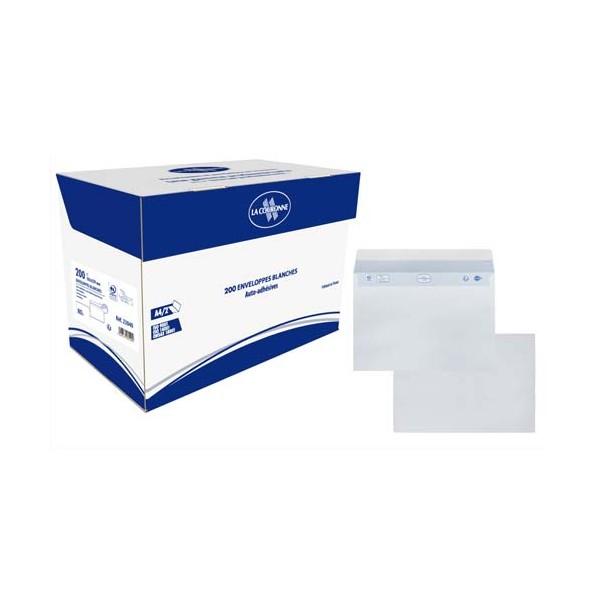 BONG Boîte de 200 enveloppes auto-adhésives C5 162 x 229 mm blanc 80g