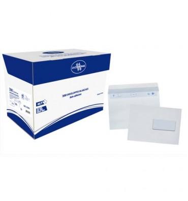 LA COURONNE Boîte de 200 enveloppes auto-adhésives C5 162 x 229 mm blanc 80g fenêtre 45 x 100 mm
