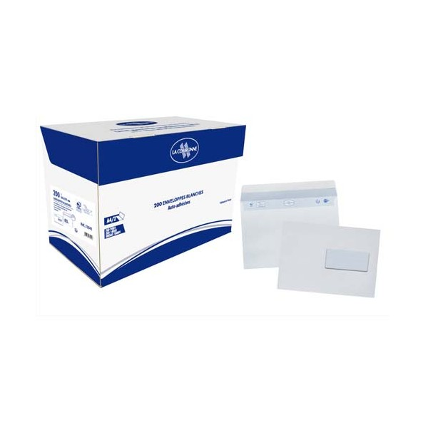BONG Boîte de 200 enveloppes auto-adhésives C5 162 x 229 mm blanc 80g fenêtre 45 x 100 mm