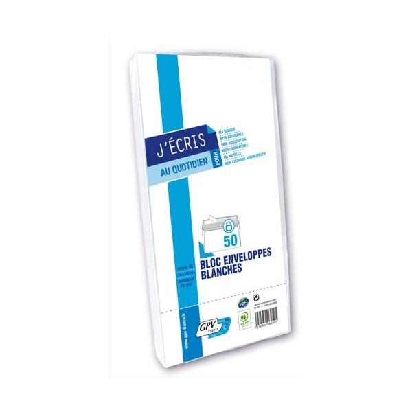 GPV Paquet de 50 enveloppes blanches auto-adhésives 75g format 110 x 220 mm fenêtre 45 x 100 mm