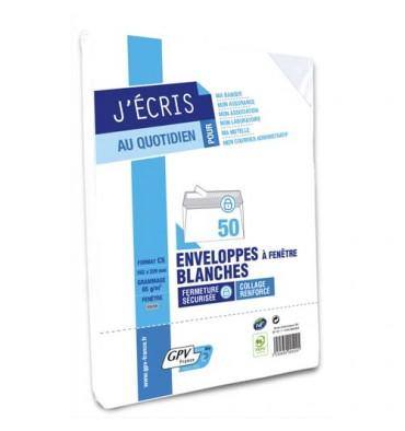 GPV Paquet de 50 enveloppes blanches auto-adhésives 80g format C5 162 x 229 mm fenêtre 45 x 100 mm