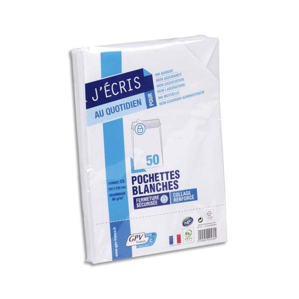 GPV Paquet de 50 pochettes vélin blanc auto-adhésives 90g format C5 162 x 229 mm