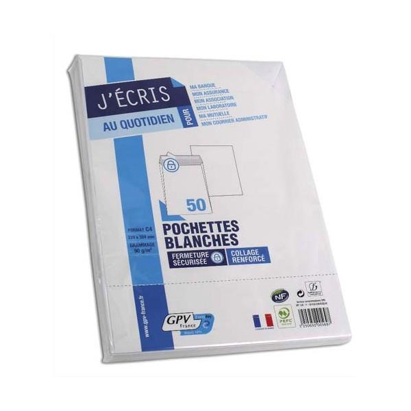 GPV Paquet de 50 pochettes vélin blanc auto-adhésives 90g format C4 229 x 324 mm