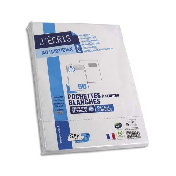 GPV Paquet de 50 pochettes vélin blanc auto-adhésives 90g format C4 229 x 324 mm fenêtr