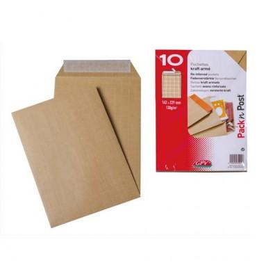 GPV Paquet de 10 pochettes auto-adhésives kraft armé 130g format C5 simple