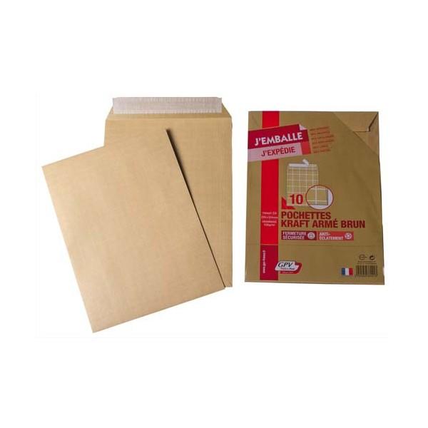 GPV Paquet de 10 pochettes kraft armé 130g format C4 simple