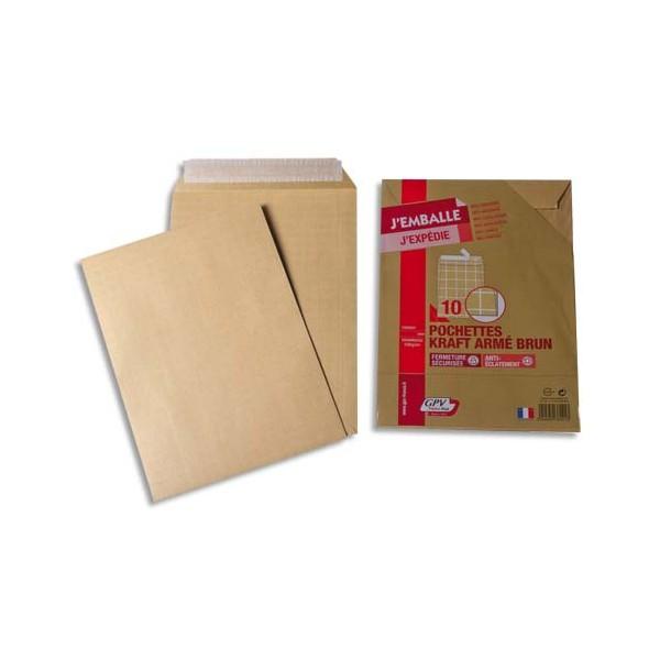 GPV Paquet de 10 pochettes kraft armé 130g format 24 simple
