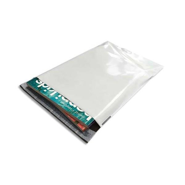 BONG Boîte de 100 pochettes en polyéthylène opaque blanches indéchirables 60 microns f