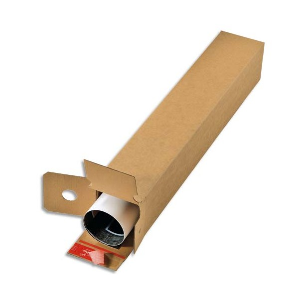 COLOMPAC Boîte d'expédition Longue simple cannelure Brun, fermeture autocollante L43 x H10,8 x P10,8 cm (photo)