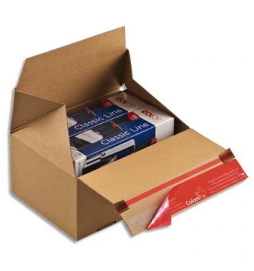 COLOMPAC Carton d'expédition Eurobox S Brun simple cannelure, fermeture adhésive L14,5 x H14 x P9,5 cm