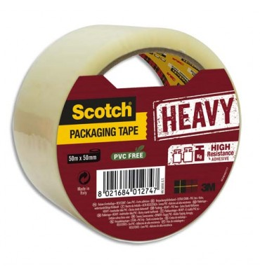 SCOTCH Ruban d'emballage Heavy 57 microns transparent, format 50 mm x 50 m