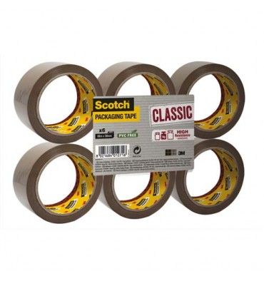 SCOTCH Ruban d'emballage Classic en polypropylène 41 microns - Dimensions : H50 mm x L66 mètres havane BP972