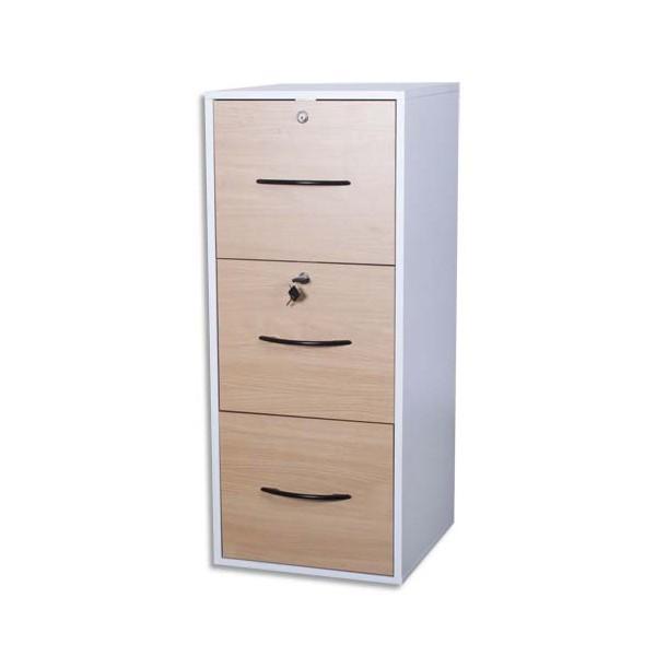 Mt international classeur m lamin 3 tiroirs pour ds blanc h tre 42x101x44 cm - Classeur 3 tiroirs dossiers suspendus ...