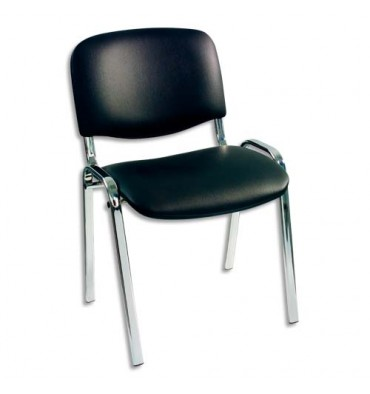 Chaise visiteur noire en vinyle, piètement métal chromé avec patins de protection. Empilable