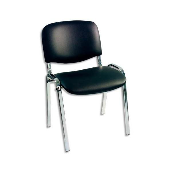now styl chaise visiteur noire en vinyle pi tement m tal chrom empilable. Black Bedroom Furniture Sets. Home Design Ideas
