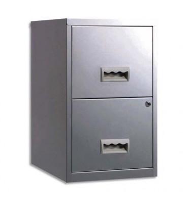 PIERRE HENRY Classeur 2 tiroirs aluminium pour Dossiers suspendus - L40 x H66,1 x P40 cm