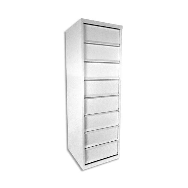 PIERRE HENRY Meuble à clapets 8 cases en métal blanc - L40 x H126 x P40 cm