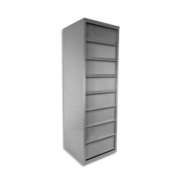 PIERRE HENRY Meuble à clapets 8 cases en métal aluminium - L40 x H126 x P40 cm