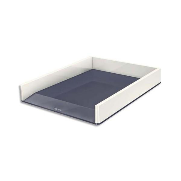 LEITZ Corbeille à courrier Dual blanc / gris métallisé - 26,7 x 4,9 x 33,6 cm
