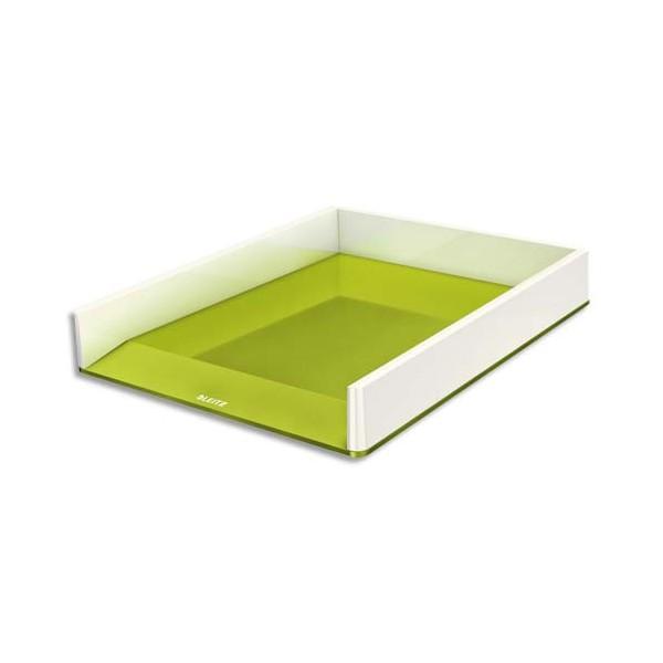 LEITZ Corbeille à courrier Dual blanc / vert métallisé - 26,7 x 4,9 x 33,6 cm