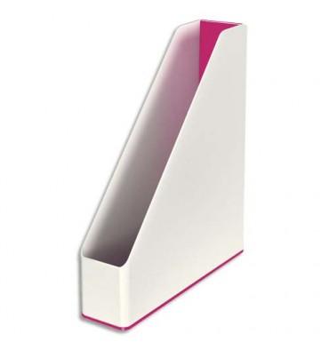 LEITZ Porte-revues Dual blanc/rose métallisé - 31,8 x 27,2 cm. Dos 7,3 cm
