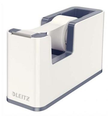 LEITZ Dévidoir Dual blanc et gris livré avec un ruban adhésif de 18 mm x 15 m