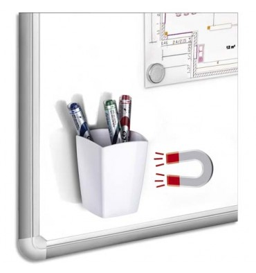 CEP Pot à crayons et feutres, magnétique, 2 compartiments, coloris blanc 7,8 x 9,5 x 7,4 cm
