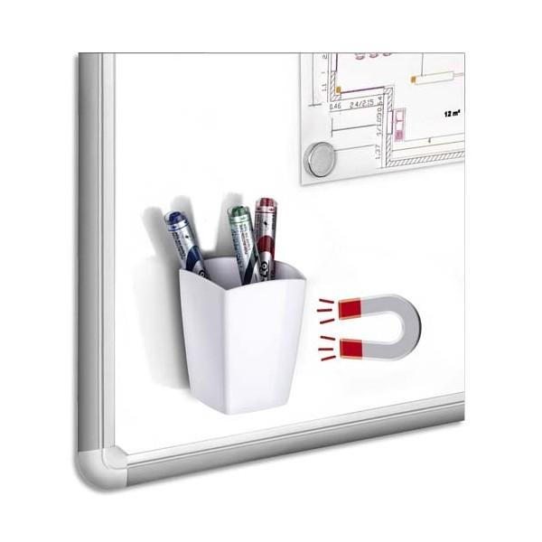 CEP Pot à crayons et feutres, magnétique, 2 compartiments, coloris blanc