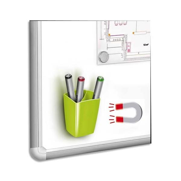 CEP Pot à crayons et feutres, magnétique, 2 compartiments, coloris vert