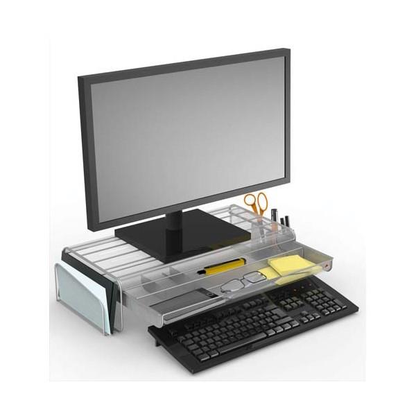 ALBA Support écran Mesh avec espace de rangement. Coloris gris. L55 cm x largeur 25 + 2 x H12,5 cm