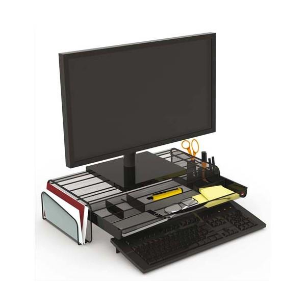 ALBA Support écran Mesh avec espace de rangement. Coloris noir. L55 cm x largeur 25 + 2 x H12,5 cm