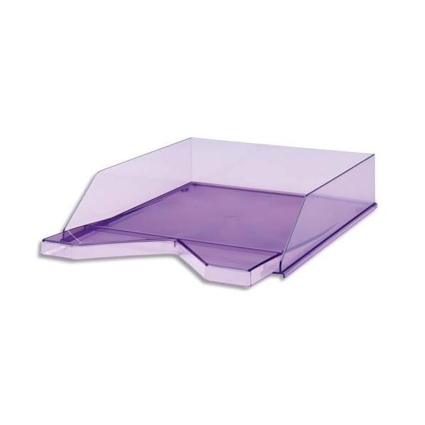 JALEMA Corbeille à courrier Silky Touch violet transparent 33,5 x 25,5 x 6,5 cm