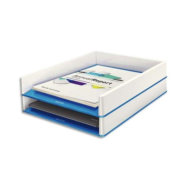 LEITZ Corbeille à courrier Dual blanc / Bleu métallisé - 26,7 x 4,9 x 33,6 cm