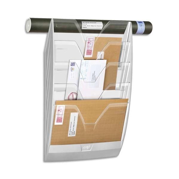 CEP Présentoir mural 5 compartiments, kit de fixation fourni, blanc cristal - L35 x H58 x P12,2 cm