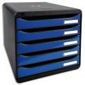 EXACOMPTA Module de classement 5 tiroirs. Coloris noir/bleu glossy. 27,8 x 26,7 x 34,7 cm