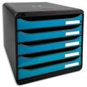 EXACOMPTA Module de classement 5 tiroirs noir/turquoise glossy. 27,8 x 26,7 x 34,7 cm