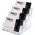 DEFLECTO Porte-cartes de visite 1x4 compartiments transparent 9,6 x 9,5 x 11,3 cm