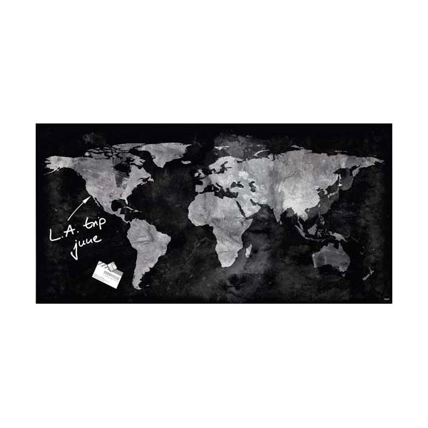 SIGEL Tableau magnétique verre trempé sécurité avec la Carte du Monde, 91 x 46 cm