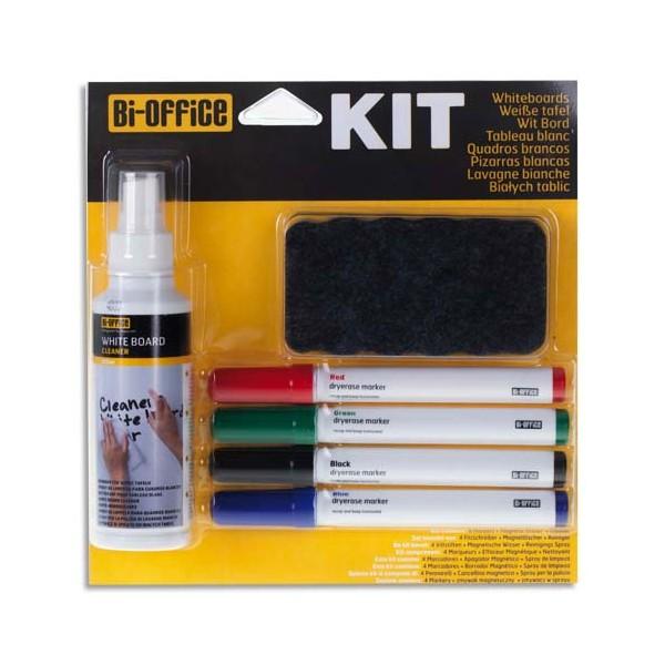 BI-OFFICE Kit marqueur avec feutres, brosse magnétique et spray nettoyant