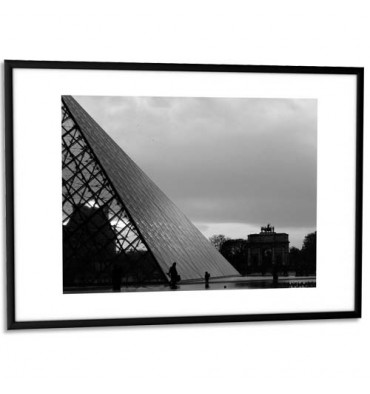 PAPERFLOW Cadre photo contour aluminium coloris noir, plaque en plexiglas. Format 30 x 42 cm