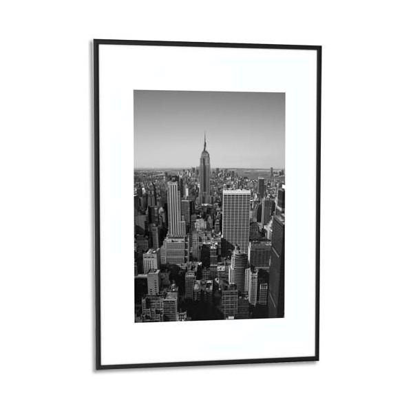 PAPERFLOW Cadre photo contour aluminium coloris noir, plaque en plexiglas. Format 42 x 59 cm
