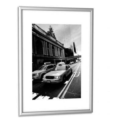 PAPERFLOW Cadre photo contour aluminium coloris argent, plaque en plexiglas. Format 21 x 30 cm