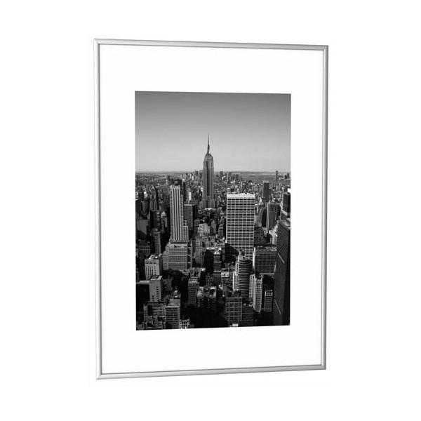 PAPERFLOW Cadre photo contour aluminium coloris argent, plaque en plexiglas. Format 42 x 59 cm