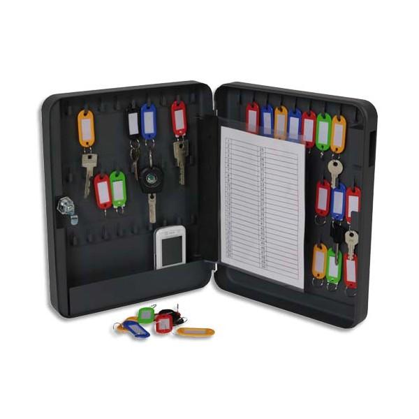 PAVO Armoire à clés à combinaison capacité 54 clés - Dimensions : 24 x 30 x 6 cm coloris gris foncé (photo)