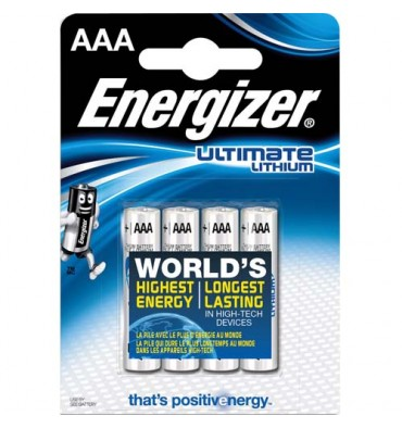ENERGIZER Blister de 4 piles Lithium AAA LR03 Ultimate lithium