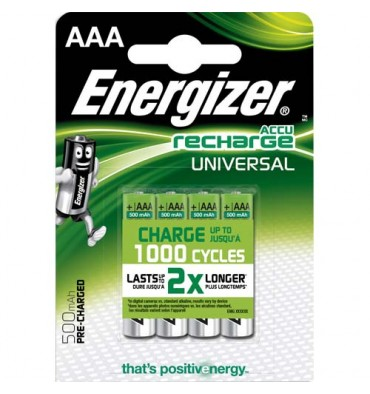 ENERGIZER Blister de 4 piles AAA LR03 Universal rechargeable 500 mAh