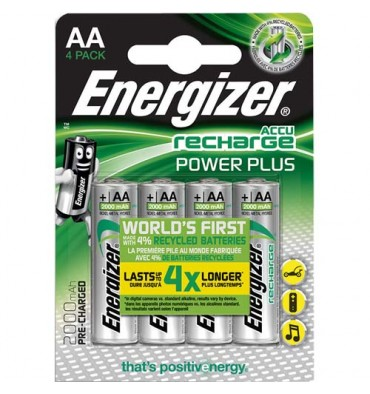 ENERGIZER Blister de 4 piles AA LR6 Power plus recheargeable 2000 mAh